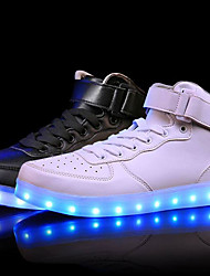 Unisex Sneakers Comfort Light Up Shoes Leather Spring Summer Fall Winter Athletic Casual Outdoor LED Low Heel White Black Ruby Under 1in