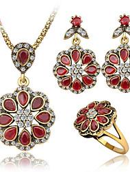 preiswerte -Damen Synthetischer Rubin / Kubikzirkonia Schmuck-Set 1 Halskette / 1 Paar Ohrringe / 1 Ring - Luxus Rot Schmuckset Für Normal