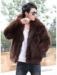 Men's Going out Vintage / Simple Fur Coat,Solid Long Sleeve Brown Faux Fur