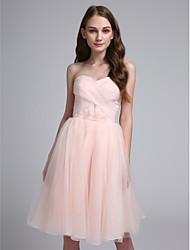 Ball Gown Sweetheart Knee Length Organza Bridesmaid Dress with Criss Cross by LAN TING BRIDE®