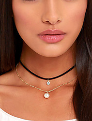 Women Simple Multi-Layer Multicolor Pearl Crystal Pendant Choker Short Necklaces 1pc