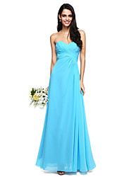 cheap -A-Line Sweetheart Floor Length Chiffon Bridesmaid Dress with Ruched Criss Cross by LAN TING BRIDE®