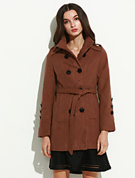 cheap -Women's Going out / Street chic Coat,Solid Shirt Collar Long Sleeve Fall / Winter Black / Brown Wool Thick