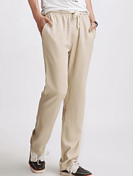 cheap -Men's Casual Linen Slim Chinos Pants - Solid Colored, Modern Style