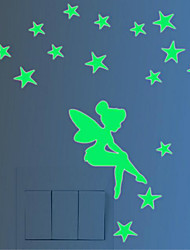 cheap -Luminous Wall Post Fairy And Stars Glow Fluorescent Christmas Wall Stick Simpson 10*8CM