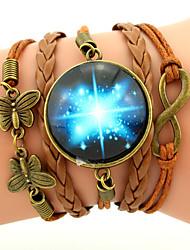 cheap -Men's Women's Charm Bracelet Leather Bracelet Wrap Bracelet Personalized Friendship Multi Layer Plaited Galaxy Fashion Inspirational