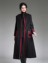 preiswerte -Damen Mantel Lange Ärmel Maxi Stickerei