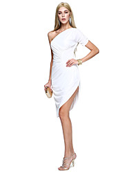 Sheath / Column One Shoulder Knee Length Matte Satin Cocktail Party Prom Dress with Side Draping by TS Couture®
