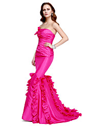 cheap -Mermaid / Trumpet Strapless Floor Length Taffeta Formal Evening Dress with Side Draping by TS Couture®