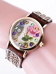 baratos -Mulheres Bracele Relógio Com Strass / imitação de diamante / Colorido Couro Banda Flor / Casual / Rígida Preta / Branco / Vermelho