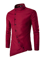 Men's Daily Casual Spring / Fall ShirtSolid / Patchwork Shirt Collar Long Sleeve Cotton Medium Hot Sale