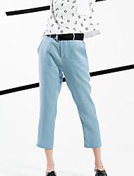Women's Slim Chinos Pants,Casual/Daily / Work Simple / Street chic Solid Mid Rise Zipper Linen Inelastic Spring / Fall