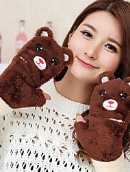 Women's The Bear Shape Removable Lamb Fur Fingertips Wrist Length Animal Print Cute Winter Gloves