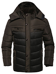Hot Sale Men's Long Padded CoatSimple Plus Size Solid-Polyester Polyester Long Sleeve Hooded Black