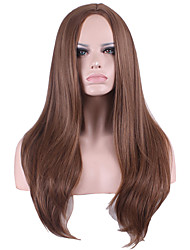Long Kinky Straight Medium Side Bang Synthetic Wig for Women Brown Heat Resistant Cheap Cosplay Wigs