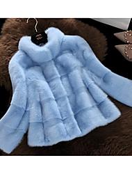 economico -Cappotto di pelliccia Da donna Party /serata Cappottini Inverno Autunno,Tinta unica Collo alto Pelliccia sintetica Standard Manica lunga