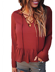 cheap -Women's Going out T-shirt - Solid Colored V Neck