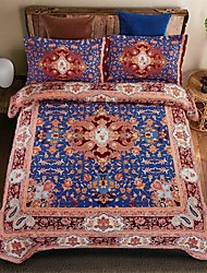 Bedtoppings 4pcs Set Queen 1 Comforter Duvet Quilt Cover/1 Flat Sheet/1 Pillowcase Fixed Design Poly Bohemian Style