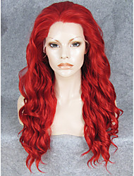cheap -Synthetic Wig Wavy Synthetic Hair Red Wig Lace Front Wig