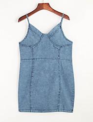 Damen Bodycon Kleid-Party Sexy Solide Gurt Mini Ärmellos Baumwolle Sommer Mittlere Hüfthöhe Mikro-elastisch