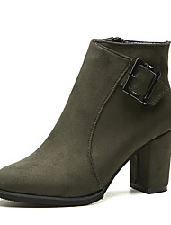 Women's Boots Winter Comfort PU Dress Chunky Heel Buckle Black Gray Army Green