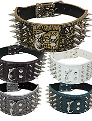 Dog Collar Adjustable/Retractable / Studded Rock / Music White / Green / Brown / Gray / Gold / Rose / Multicolor PU Leather