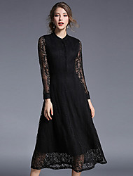 cheap -Women's Daily Street chic A Line Lace Dress,Solid Stand Midi Long Sleeves Cotton Polyester Fall High Rise Micro-elastic Thin