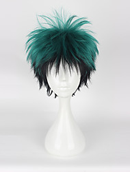 Parrucche Cosplay My Hero Battaglia Academy For All / Boku no Eroe Academia Midoriya Izuku Nero / Verde Corto Anime Parrucche Cosplay 35CM