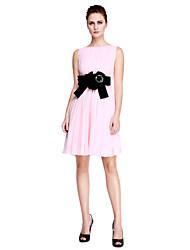Linha A Curto / Mini Chiffon Coquetel Reunião de Classe Baile de Fim de Ano Vestido com Miçangas Flor(es) de TS Couture®