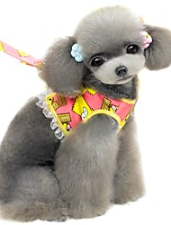 Cute Cartoon Pattern Harness with 120cm Leash  for Pets Dogs (Assorted Sizes and Colours)