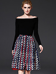 cheap -FRMZ Women's Daily / Work Vintage A Line Skirts - Geometric Pleated