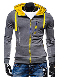 Men's Sports Casual Active Hoodie Jacket Solid Hooded Micro-elastic Polyester Long Sleeve Winter Spring Fall
