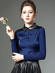 Feminino Camiseta Trabalho / Tamanhos Grandes Simples / Moda de Rua Inverno,feito à mão Azul / PretoPoliéster / Fibra Sintética /