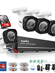 SANNCE® 8CH 720P AHD DVR HDMI 4PCS 720P IR Night Vision Outdoor CCTV Camera Surveillance Kits Built-in 1TB HDD