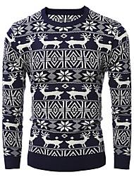 cheap -Men's Daily Long Pullover,Animal Print Round Neck Long Sleeves Cotton Winter Fall Medium Micro-elastic