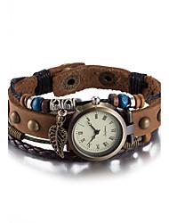 Недорогие -Жен. Наручные часы Часы-браслет Модные часы Кварцевый Защита от влаги Кожа Группа Винтаж Богемные Кольцеобразный Коричневый