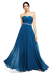 cheap -A-Line Sweetheart Floor Length Georgette Bridesmaid Dress with Beading Sash / Ribbon Criss Cross by LAN TING BRIDE®