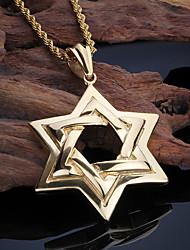 Homens Colares com Pendentes Estrela Aço Inoxidável 18K ouro Moda Personalizado Europeu bijuterias Jóias Para Festa Diário Casual