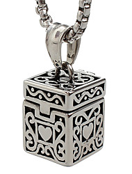 Punk Style Pendant Charm Necklace 316L Stainless Steel Retro Carving Box Shape Jewelry