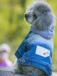 Cani Felpe con cappuccio Giacche di jeans Abbigliamento per cani Cowboy Di tendenza Jeans Blu