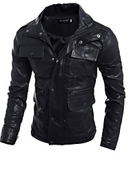 cheap -Men's Daily Simple Casual Winter Fall Regular Leather Jacket,Solid Hooded Calfskin