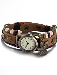 cheap -Women's Fashion Watch Wrist watch Bracelet Watch Quartz Water Resistant / Water Proof Leather Band Vintage Bohemian Bangle Brown