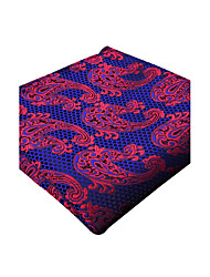 cheap -Mens Pocket Square Navy Blue Crimson Paisley 100% Silk New Business Fashion For Men