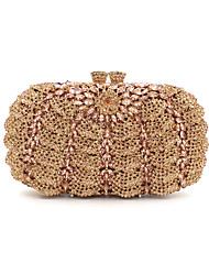 cheap -Women's Bags Metal Evening Bag Crystal / Rhinestone Floral Print Black / Golden / Rose Gold / Rhinestone Crystal Evening Bags / Rhinestone Crystal Evening Bags