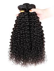 economico -3 pacchetti Indiano Kinky Curly Ciocche a onde capelli veri Tessiture capelli umani Estensioni dei capelli umani / Riccio