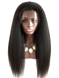Glueless Human Hair Lace Wigs For Black Women Coarse Yaki Lace Front Human Hair Lace Wigs Peruvian Kinky Straight Lace Wig