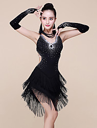 Latin Dance Dresses Women's Performance Spandex / Milk Fiber Beading / Tassel Sleeveless Natural Dress / Bracelets