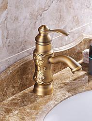 ruotabile centerset tradizionale con valvola di ceramica singola maniglia un foro per l'ottone antico, lavandino rubinetto del bagno