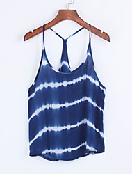Women's Going out Sexy Summer Tank Top,Print Strap Sleeveless Blue Cotton Medium