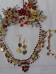 Недорогие -Жен. Кристалл Комплект ювелирных изделий Включают Красный Назначение Свадьба Для вечеринок